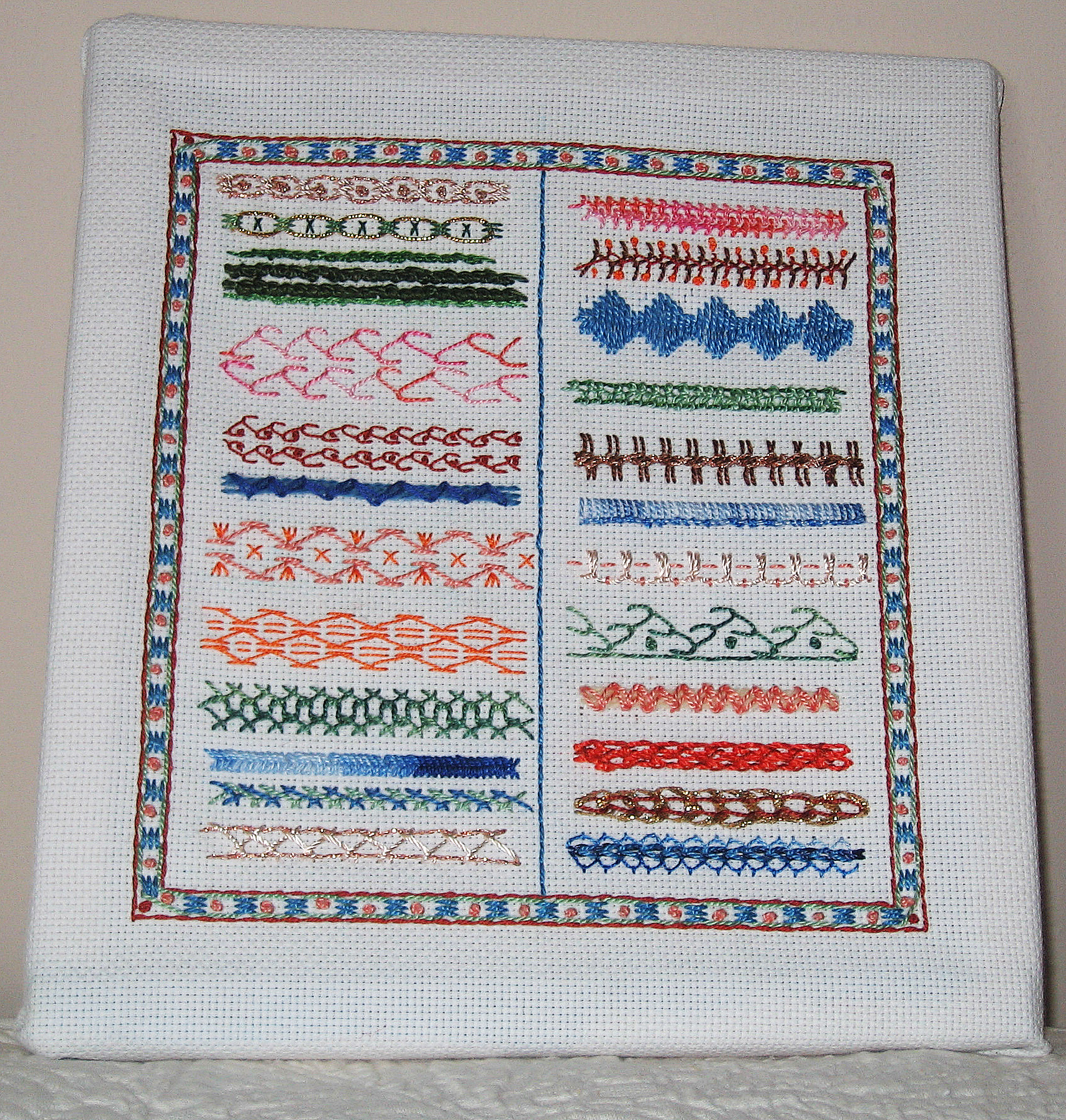 Vintage Sampler Gay Ann Rogers White Work Drawn Thread Hem Stitch Cross Stitch